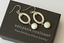 Silpada Sterling Silver Hammered Coin Pearl Oval Cut Out Earrings W1253