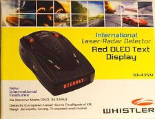 Whistler GT-435Xi Laser-Radar Detector international firmware 2013 update oled