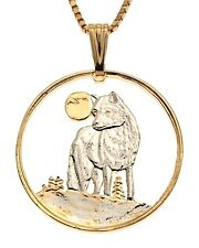 "Timber Wolf Pendant , Hand Cut Canada Wolf Coin, 1 1/8"" in Diameter, ( # 925 )"