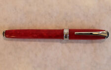 "Levenger Marbled Red Fountain Pen Germany M Nib 5 7/8"" Chrome Accents"