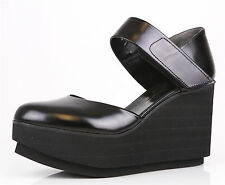 Robert Clergerie Black Chicago Platform Closed Toe Wedge Sandals 1009 Size 10 B