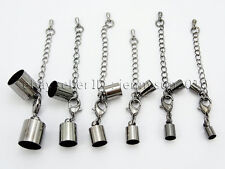 Glue In Barrel Cord Ends Crimp Caps Labster Clasp Chain Set Findings Silver Gold