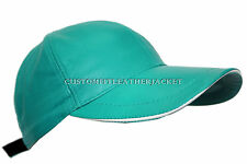 BASEBALL CAP Silky Green unisex Soft nappa Lambskin genuine Leather Hip-Hop Hat