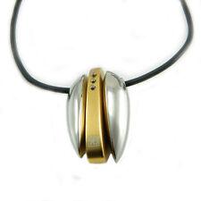 Renato Balestra collana uomo caucciù con pendente acciaio IP oro con diamantini