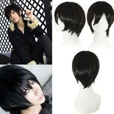 Parrucca cosplay corta nera + rete di tessitura nera