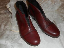 RIEKER  two  tone  warm  wine &  black  leather  ankle  booties  37( 6-6.5 ) NEW