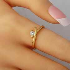 Womens Yellow Solid Gold Filled Clear Crystal Stackable Wedding Ring Size 7.5