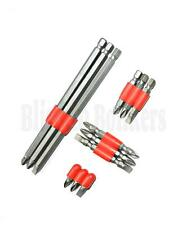 SCREWDRIVER BIT SET LONG AND SHORT DRILL FLAT SLOTTED PHILLIPS POZI S2 PZ2 14C