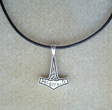 Viking Norse Thor's Hammer Mjolnir Pendant Leather Cord Necklace - Protection