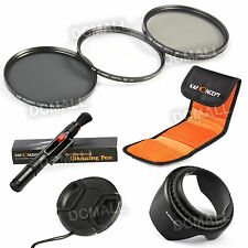 58MM UV CPL ND4 Filter Kit + Lens Hood Cap + Cleaning Pen For Canon 18-55mm USA