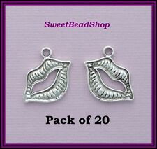 20 Antique Silver Colour Double Sided 24 x 16mm Lip Lips Charms
