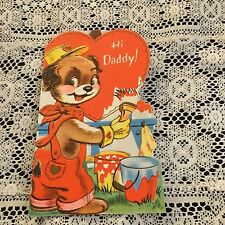 Vintage Greeting Card Valentine Daddy Dog Painting Heart