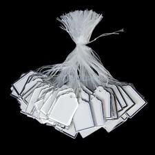 500 White Silver Labels Tie String Strung Price Tags Jewelry Watch Cloth Display