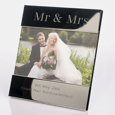 Engraved & Personalised Mr & Mrs Shiny Silver Plated Wedding Photo Frame 6x4ins