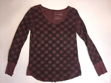 WE THE FREE People Anthropologie SIZE M Plaid Waffle Thermal Tee Shirt Top T-