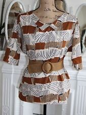 VINTAGE Diane Von Furstenberg Print Top Medium Animal Brown 1980's PERFECT