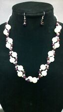 Silver Purple Bead and Pearl Necklace Set