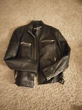 Women's Jacket Coat 100% Genuine Soft Leather Supple Motorcycle Zip Up Mossimo L