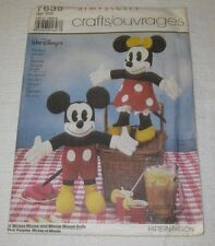 "Simplicity Pattern 7635 to Make 18"" Mickey Mouse & Minnie Mouse Dolls"