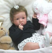 "REBORN BABY ""SASKIA"" Bonnie Brown - Delta Dawn Mohair - German Glass Eyes"