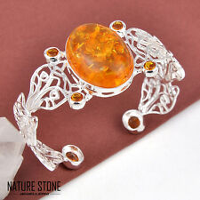 Classical Round Cut Cognac Amber & Honey brazil Citrine Silver Bangle Bracelet