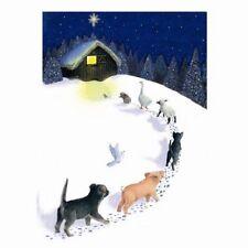 Joyeux noël mixtes animaux lot de 10 petits carrés cartes chien cochon chat mouton