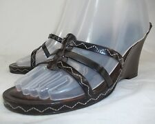 Nine West Womens US 8 Brown Leather Upper Slip On Shoes Wedges GUC Made In Italy