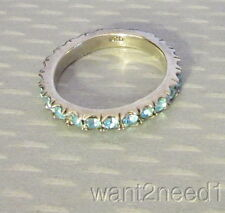 925 sterling silver AQUA CRYSTAL ETERNITY BAND RING sz 8
