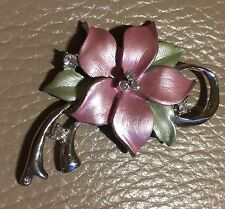 Vintage 1950s Style Satin Enamel Glass Pink Green Flower ST Pendant Mother's Day