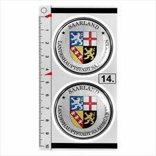 Saarland​​​ set of 2 German Number Plate Seal Stadt 3D Domed Sticker badge 45mm