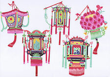 Chinese Paper Cuts - Lantern Set (10 colorful small pieces)