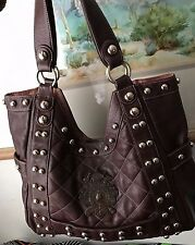 BRIGHTON MY FLAT IN LONDON XLG JAN HAEDRICH SHOULDER BAG BROWN QUILTED LEATHERS
