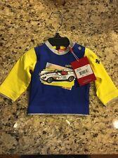 NWT FERRARI 404 Infant Long Sleeve Tshirt Yellow Blue 0-3 Retail $44