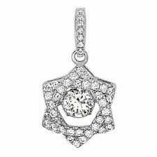 .925 Sterling Silver Jewish Star of David White CZ Dancing Pendant Necklace