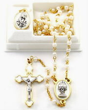 NEW MADE IN ITALY GIRL'S WHITE GLASS PEARL & GOLD PLATED COMMUNION ROSARY GIFT