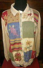 Alfred Dunner Floral Patchwork Colorblock Zip Polo Sweater Womens Size Small S