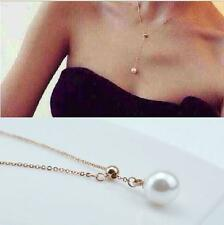 Nice Women Gold Chain Pearl Charm Pendant Collar Chunky Choker Bib Necklace Gift