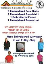 "PERSONALISED EMBROIDERED WORKWEAR  ""FREE"" DIGITIZING OF YOUR LOGO or TEXT DESIGN"