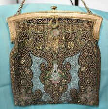 Vintage Cut Steel ULTRA MICRO BEADED PURSE Gold-Blue-Brown-Silver,Lined-GORGEOUS