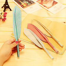 POP 5PCS Cute Wing Feather Ballpoint Ink Pens Creative Stationery Student Gift