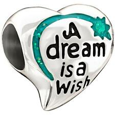 "Chamilia Disney ""A DREAM IS A WISH"" Enamel Glitter Sterling Charm 2020-0693 $50"