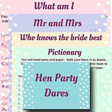 5 HEN PARTY GAMES: MR & MRS, WHAT AM I, PICTIONARY, WHO KNOWS BRIDE BEST, DARES