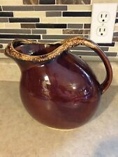 HULL USA Vintage Brown Drip Glaze Pottery Oven Proof Ball Style Pitcher 8 in.