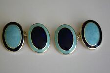 Aspinal sterling silver in navy and opal blue cufflinks