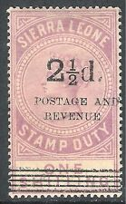 Sierra Leone 1897 dull-lilac 2.5d on 1/- surcharge 8 mint SG63