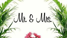 "MR & MRS VINYL WALL DECOR DECAL great Christmas or Wedding gift 9"" X 4"""
