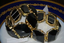 BEAUTIFUL PAIR OF LARGE RUNWAY STATEMENT STRETCH BRACELET BLACK GOLD TONED METAL