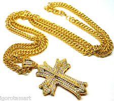 Mens 18K Gold Filled Iced Heavy Long Chain Necklace Big Cross Crucifix Pendant
