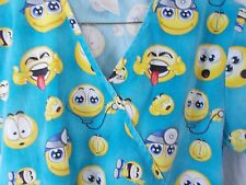 scrub top smiley face icons 2 front pockets extra small yellow blue
