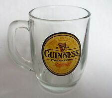 GUINNESS STOUT BEER Vintage Foreign Export MUG Handle ROUNDED GLASS SINGAPORE